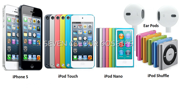 iPhone5, 5th generation iPod Touch, 7th generation iPod Nano and iPod Shuffle