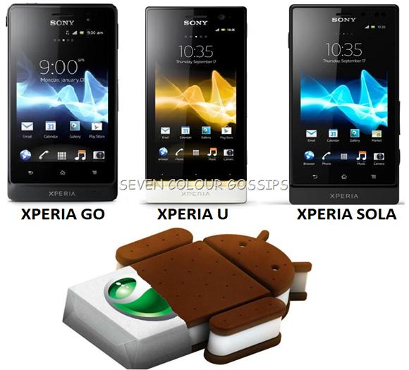 Xperia go, xperia u and xperia sola ics update