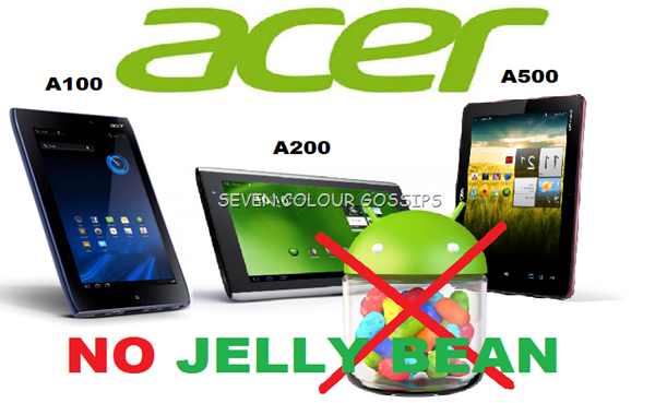 no jelly bean for Acer iconia a100, a200 and a500